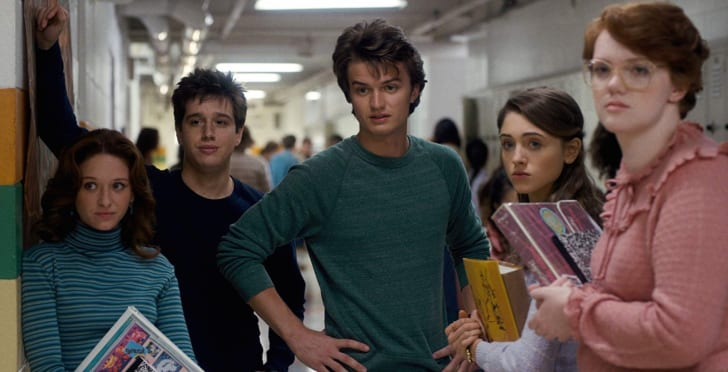 Natalia Dyer, Chelsea Talmadge, Chester Rushing, Joe Keery, and Shannon Purser in Stranger Things