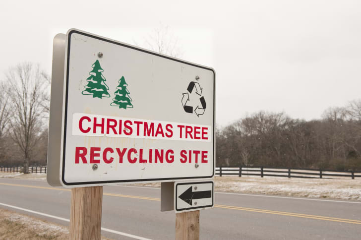 Sign pointing toward a Christmas tree recylcing site