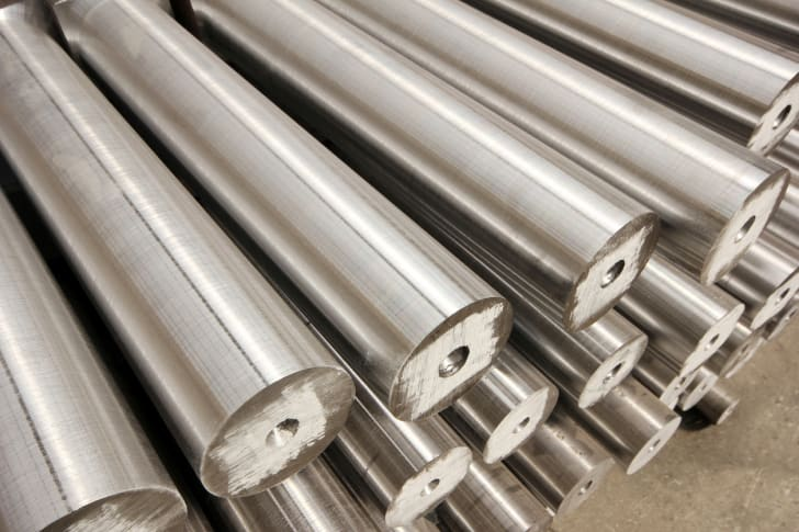 A photo of aluminum poles