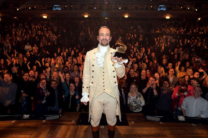 Composer, actor Lin-Manuel Miranda celebrates GRAMMY award on stage during 'Hamilton' GRAMMY performance for The 58th GRAMMY Awards at Richard Rodgers Theater on February 15, 2016 in New York City