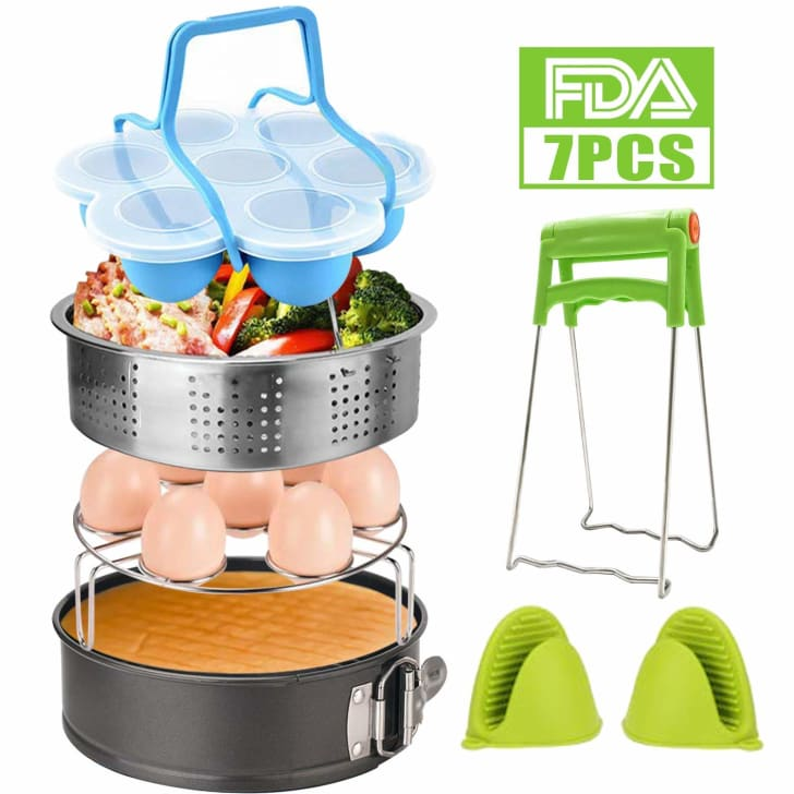 An egg-bite mold, steamer basket, egg rack, cooking mitts, and dish clip for the Instant Pot