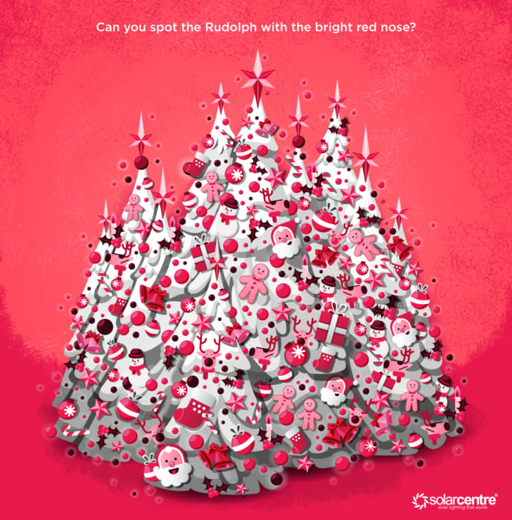 A hidden-image puzzle with Christmas trees decorated with holiday imagery