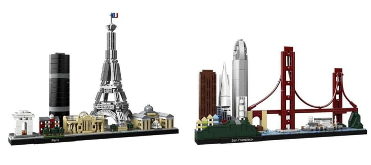 LEGO sets of the Paris and San Francisco skylines