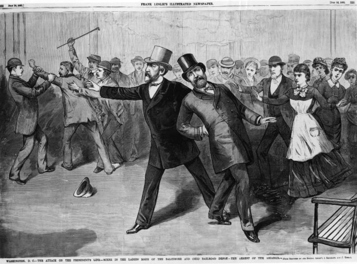 Illustration of Garfield's assassination.