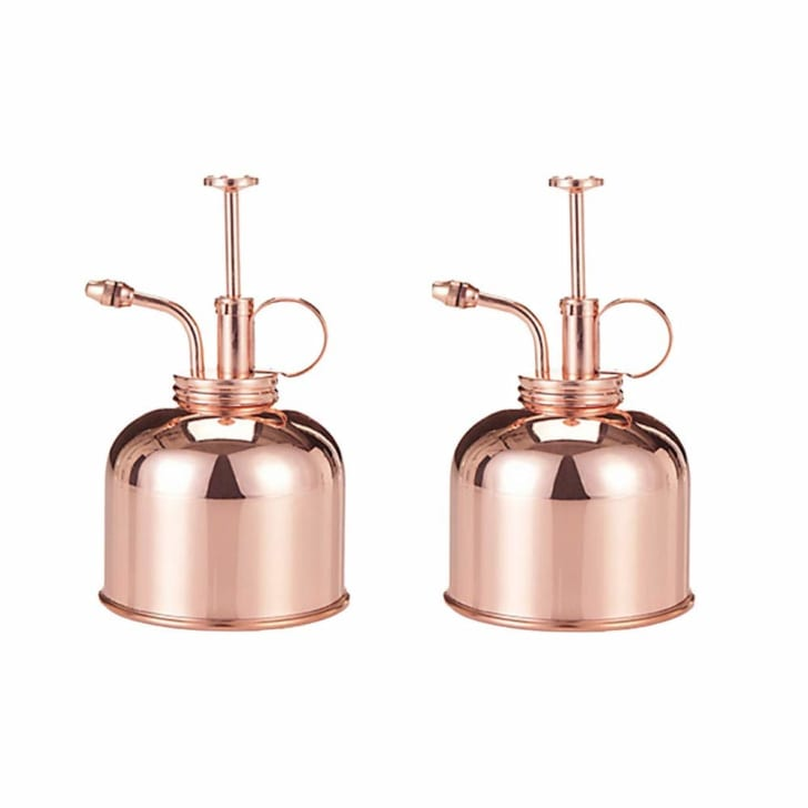 Two vintage-looking plant misters in copper