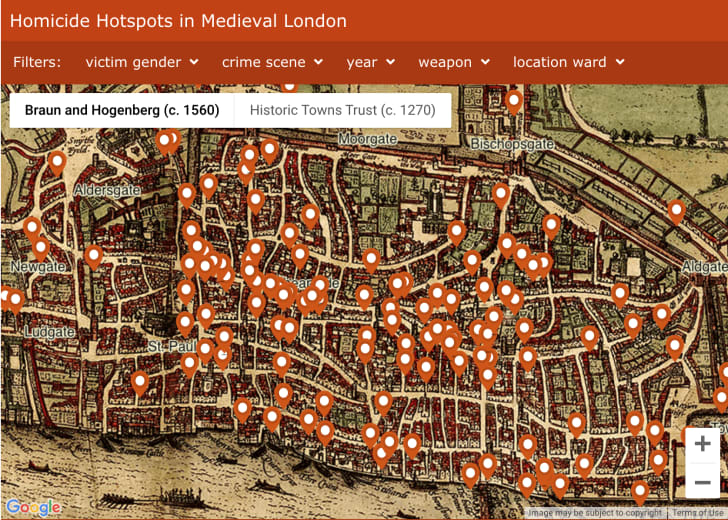 A historic map of London with pins representing murder locations