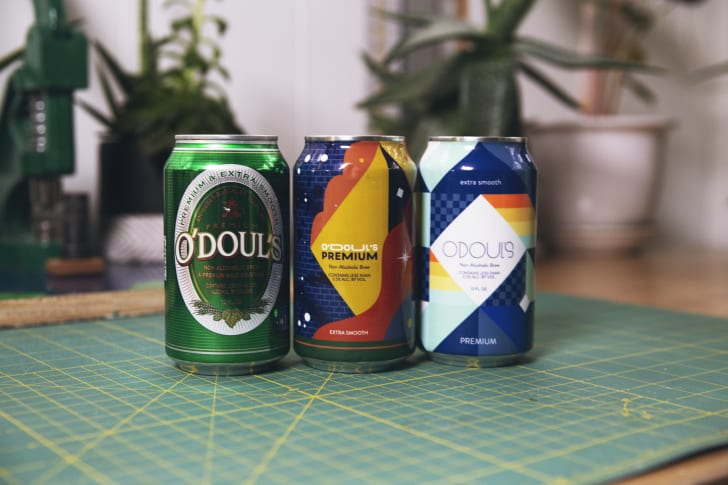 The traditional O'Doul's can next to the two limited-edition designs