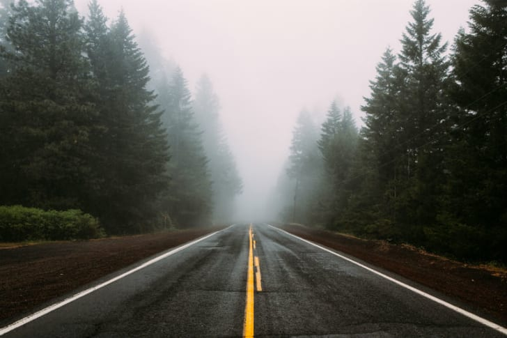 A road is covered in fog