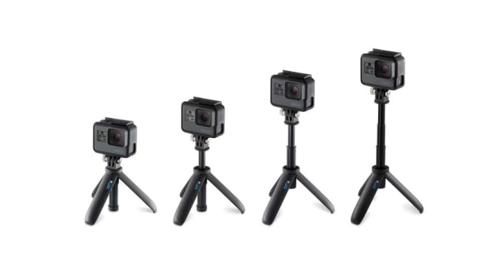 Four Shorty tripods extended to different heights