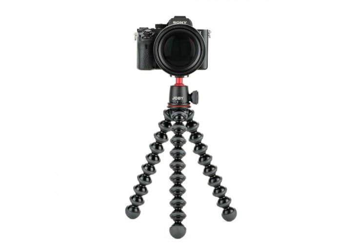 A camera on top of a GorillaPod tripod