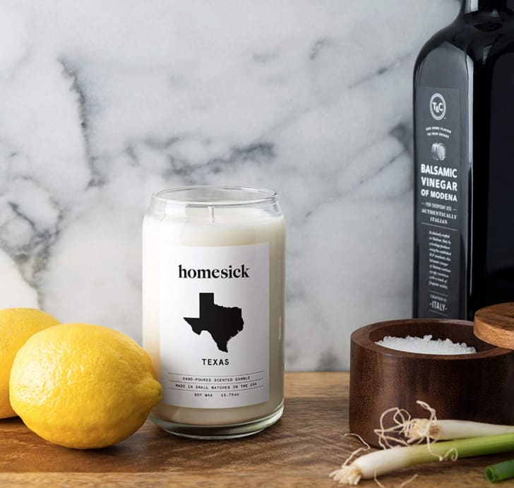 "A Homesick-brand scented candle labelled ""Texas"""