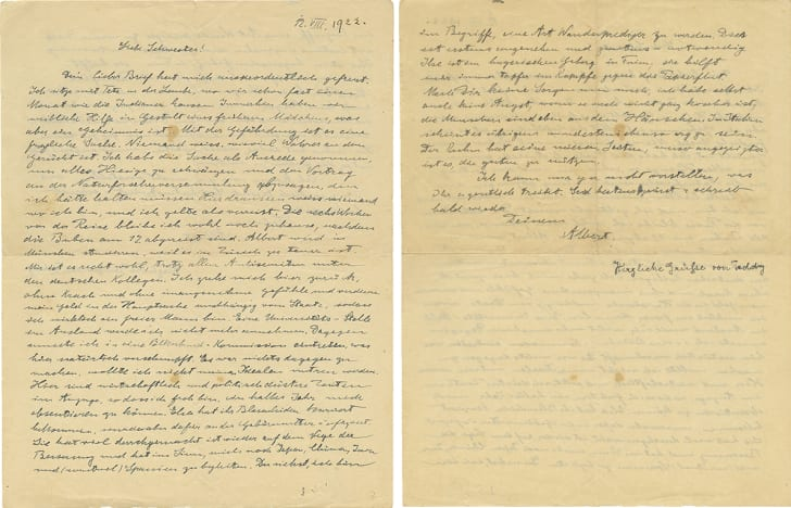 Two pages from a handwritten letter from Albert Einstein