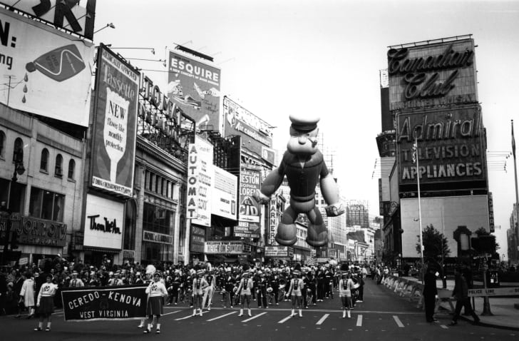A Popeye balloon in the Macy's Thanksgiving parade in New York, circa 1961.