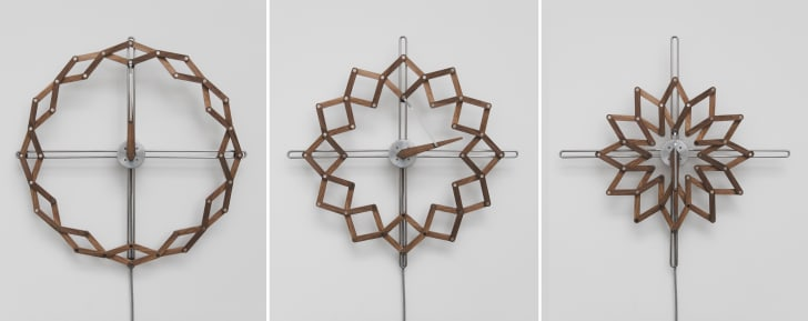Three different views of the Solstice clock expanding and contracting