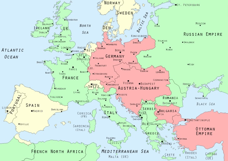 Maps of Europe and 1914 borders
