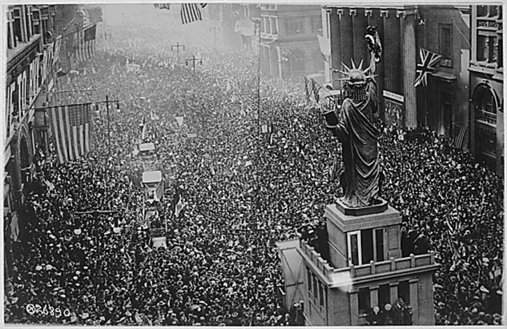 Americans celebrate the World War I Armistice on November 11, 1918 in Philadelphia