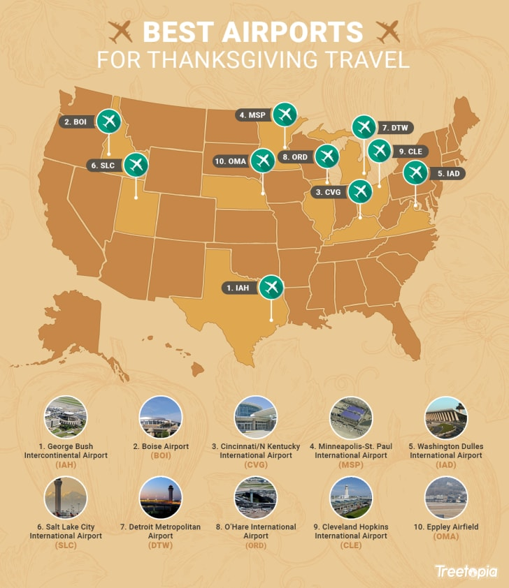 A map of the best airports for Thanksgiving travel