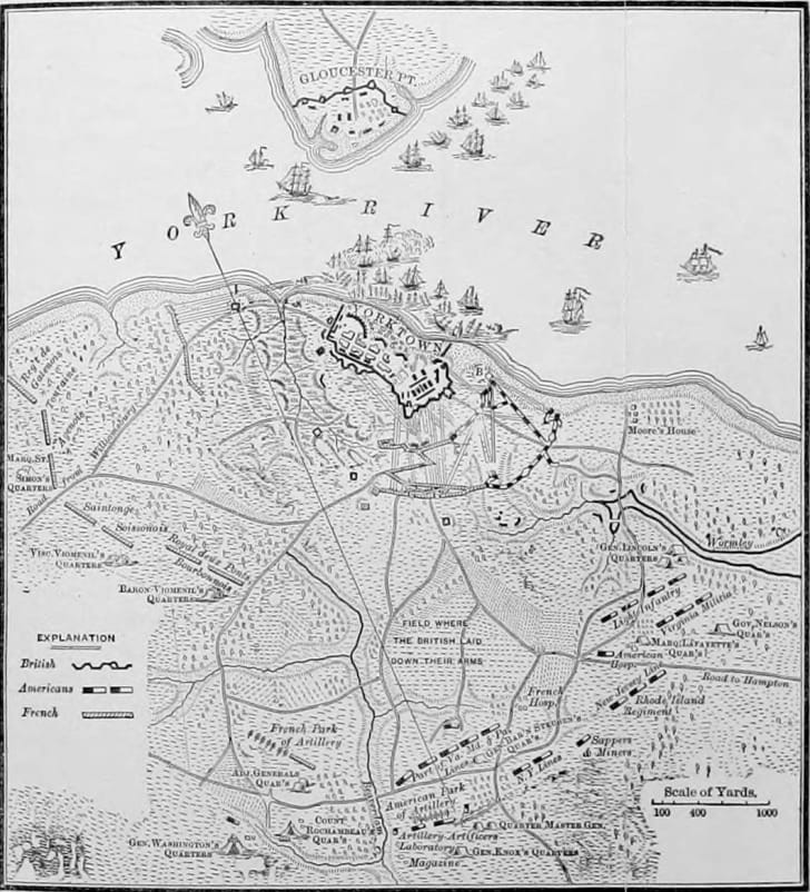 Map of Yorktown, Virginia, showing the military layout, as related to the American Revolutionary War siege there.