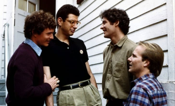 Jeff Goldblum, Kevin Kline, Tom Berenger, and William Hurt in The Big Chill (1983)