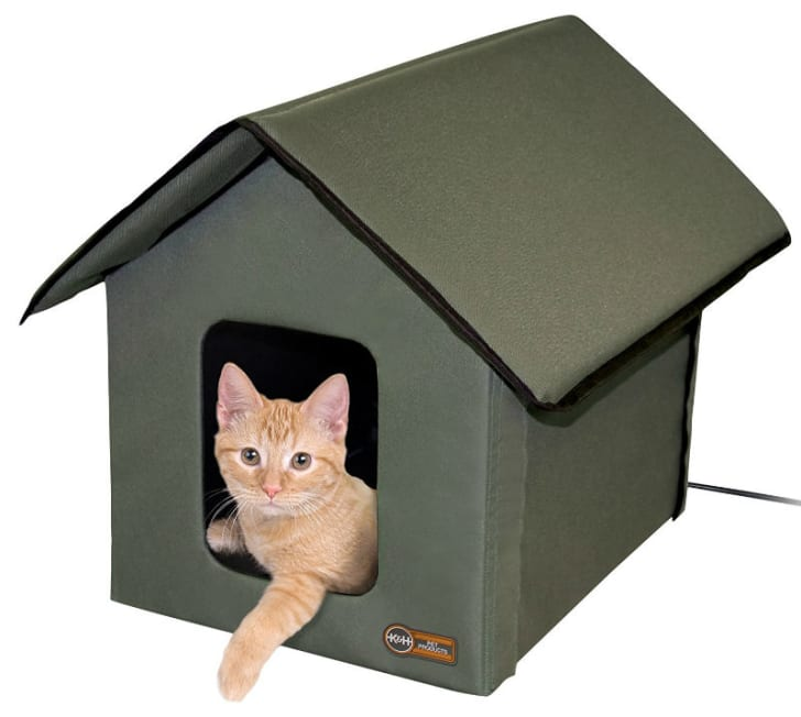 A cat sits inside a K&H heated cat house