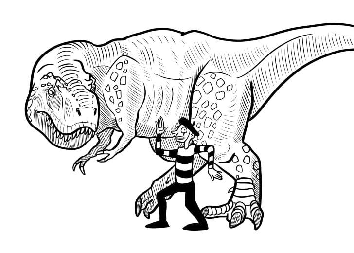 An illustration of a mime standing next to a T. rex