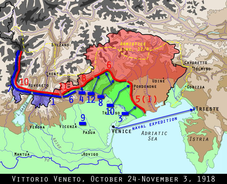 Map of the Vittoria Veneto battle, World War I