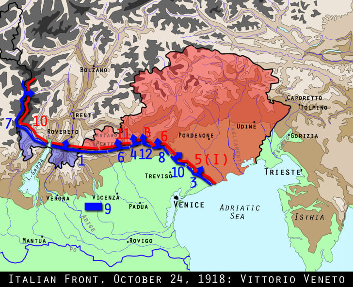 Map of the Vittoria Veneto battle of World War I