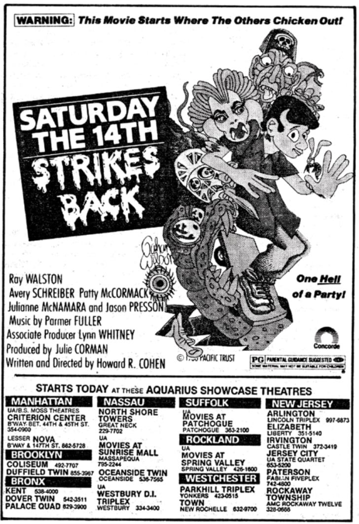 An ad for 'Saturday the 14th Strikes Back'