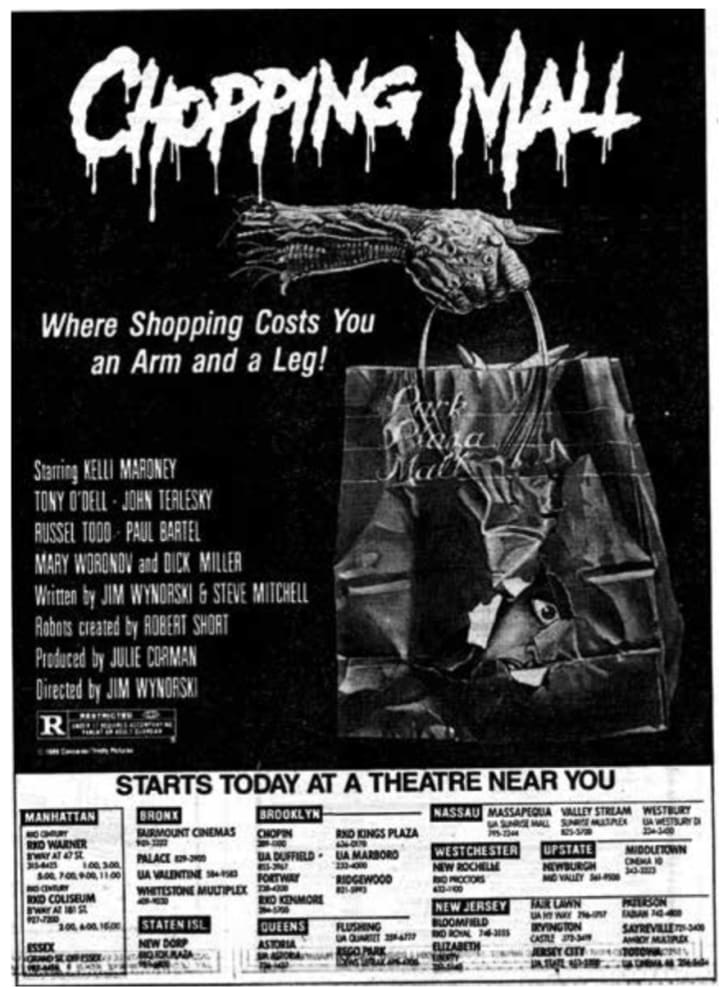 An ad for 'Chopping Mall'