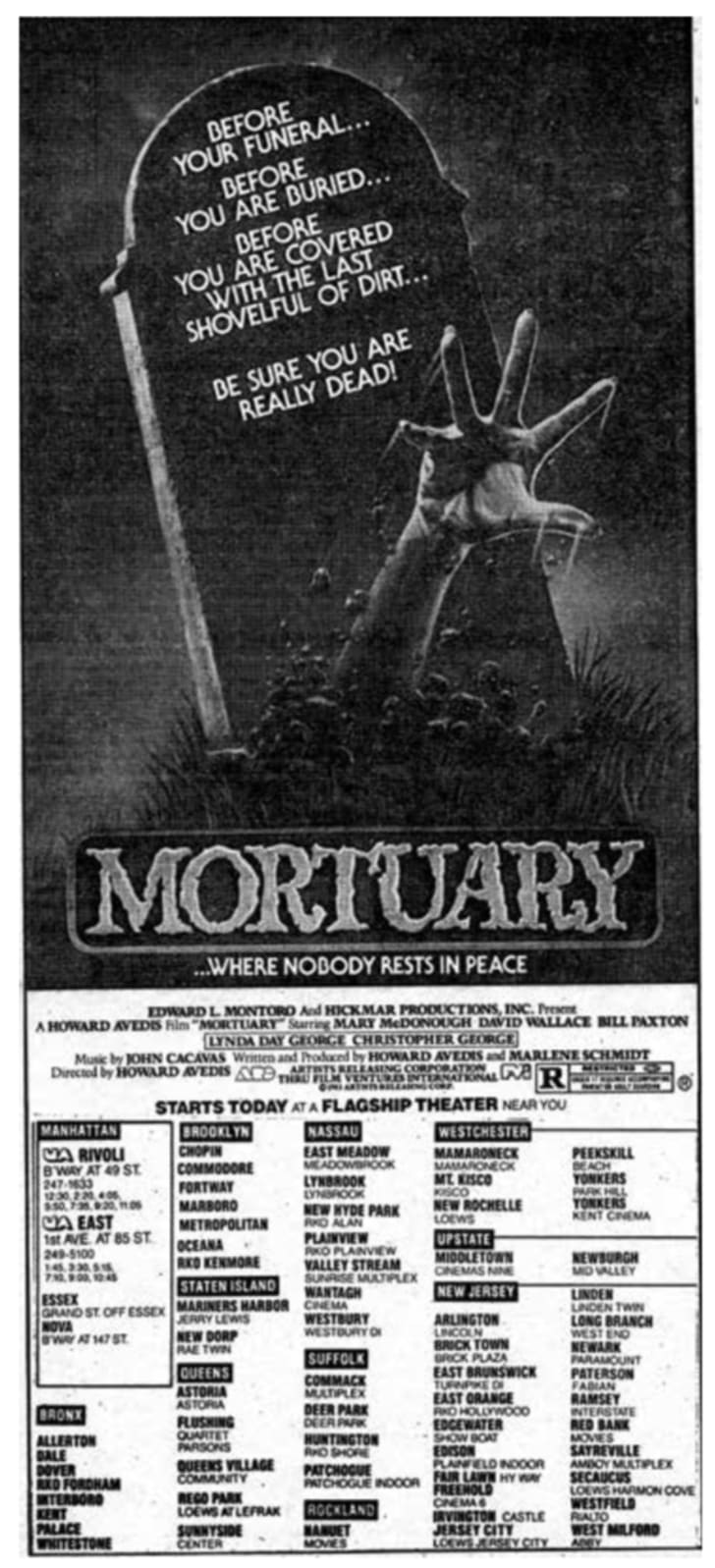 An ad for 'Mortuary'