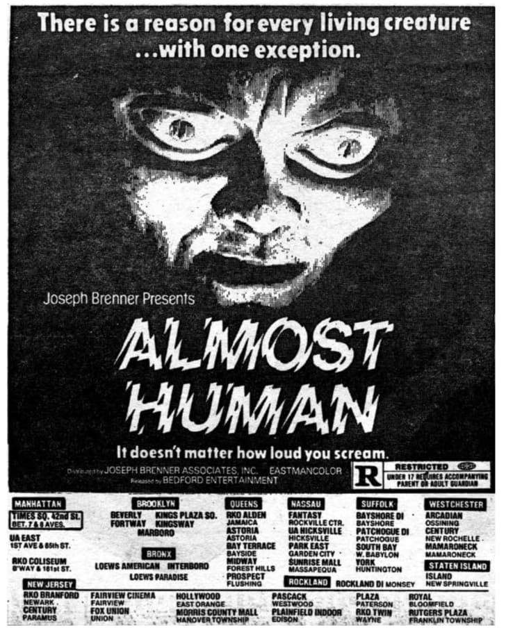 An ad forAlmost Human (1980)
