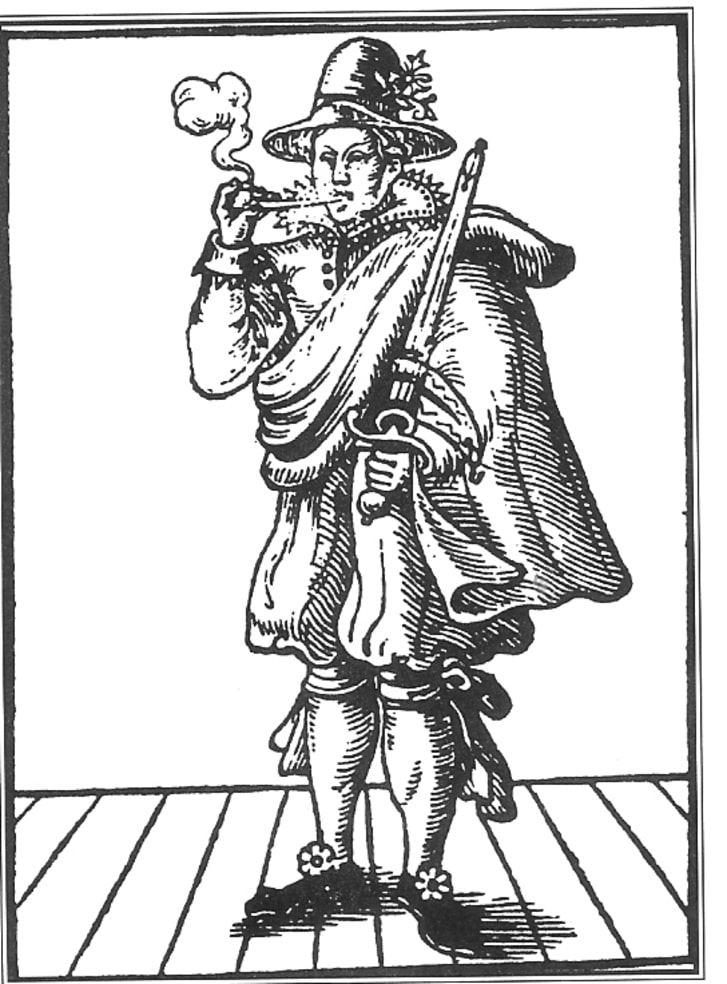 A drawing of Mary Frith from the title-page of The Roaring Girl