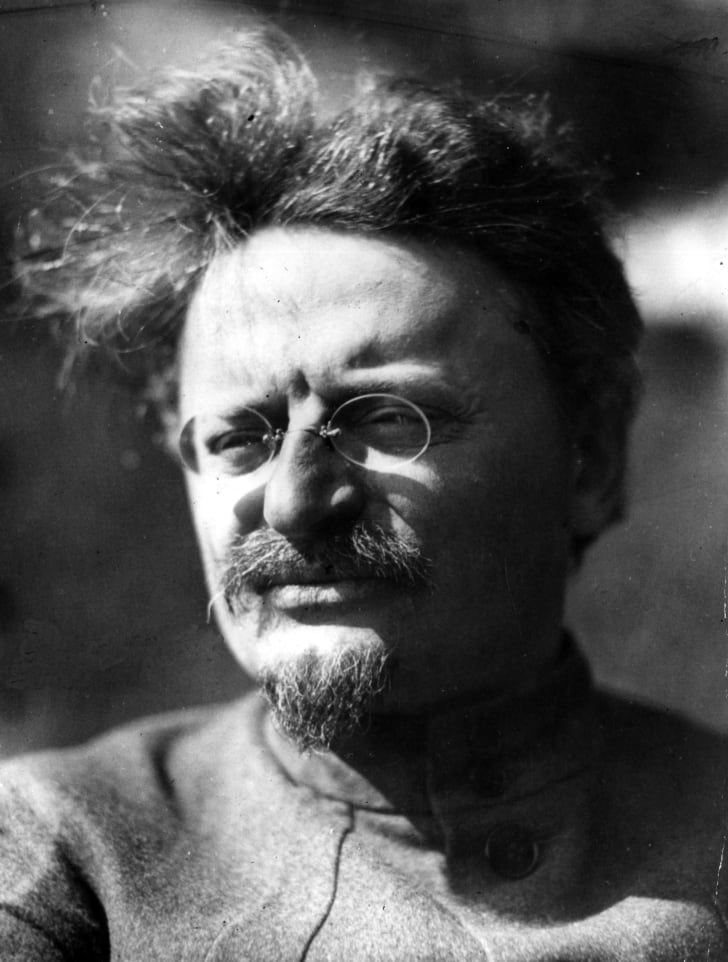 A black-and-white photograph of Leon Trotsky at his villa