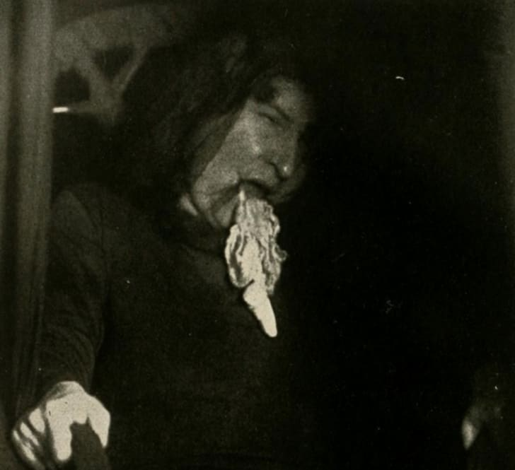 A photo of Eva Carrière regurgitating ectoplasm