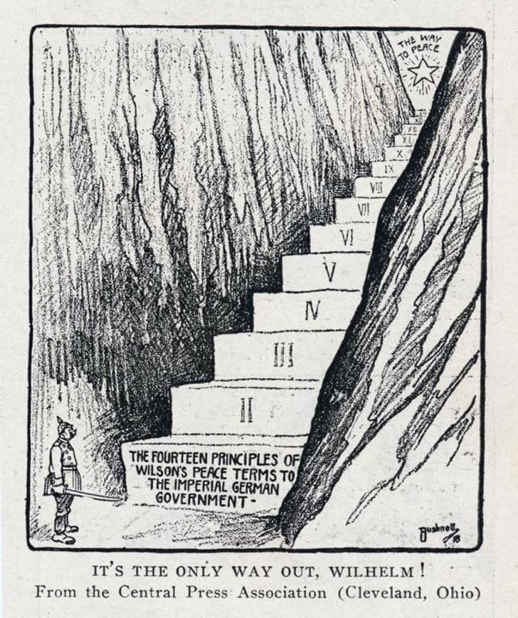 Cartoon about Woodrow Wilson's Fourteen Points