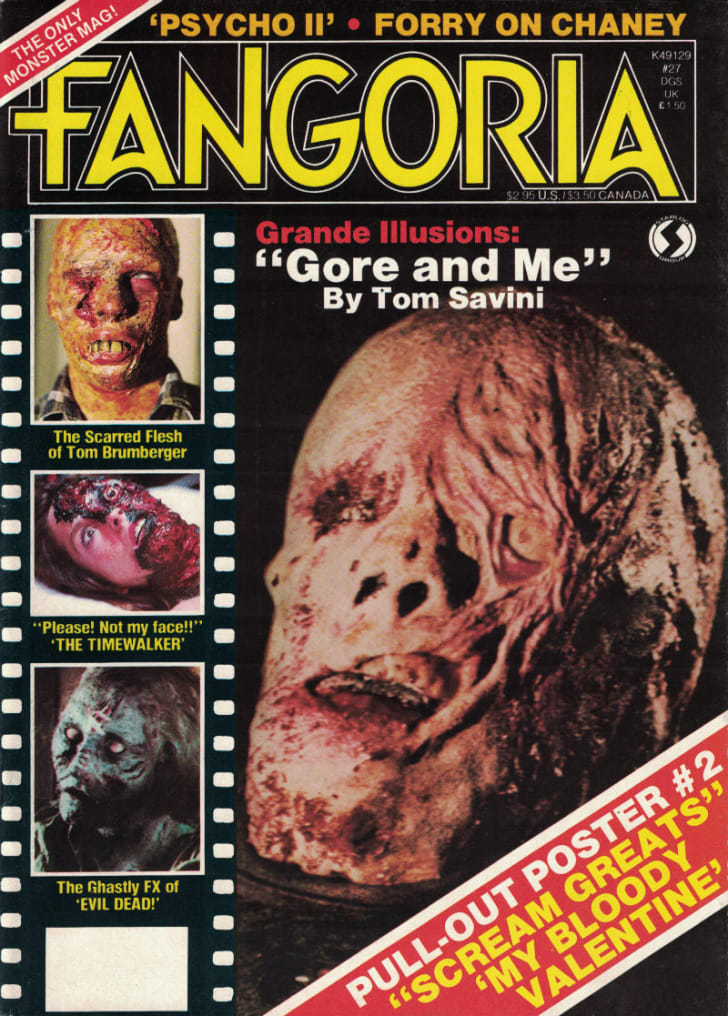 A 'Fangoria' cover featuring a Tom Savini creation