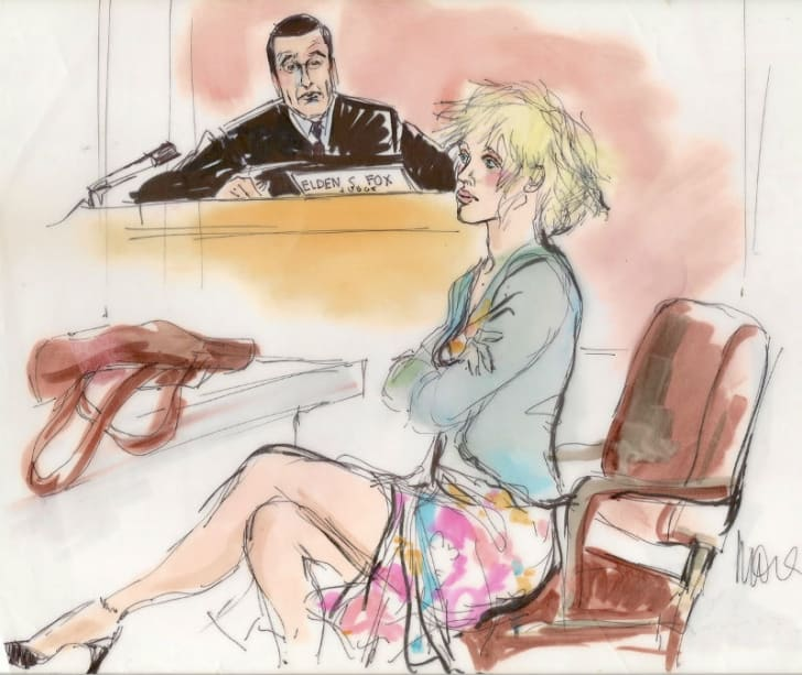A courtroom sketch by Mona Shafer Edwards depicts judge Elden Fox and Courtney Love during a hearing