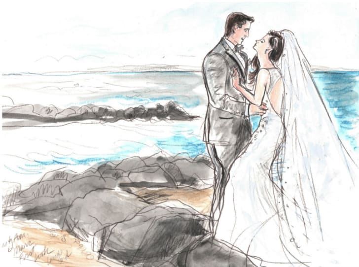 Artist Elizabeth Williams depicts a newlywed couple