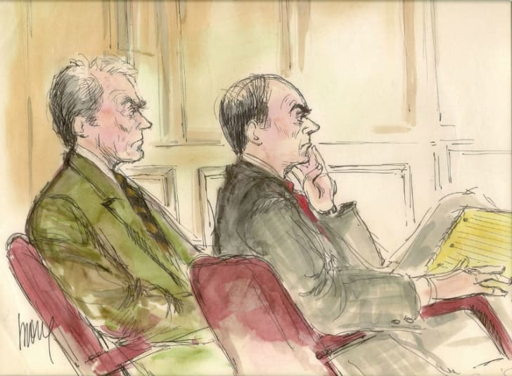 A courtroom sketch by Mona Shafer edwards depicts Clint Eastwood sitting next to his attorney during Eastwood's 1996 palimony trial