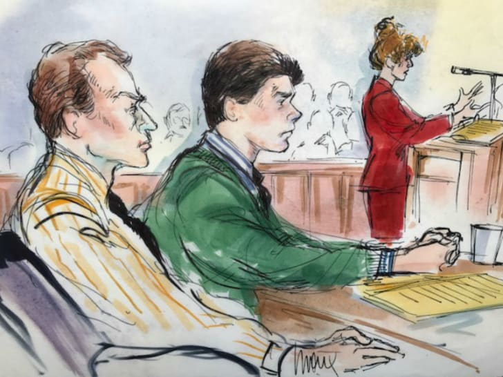 Courtroom sketch artist Mona Shafer Edwards depicts the trial of the Menendez Brothers