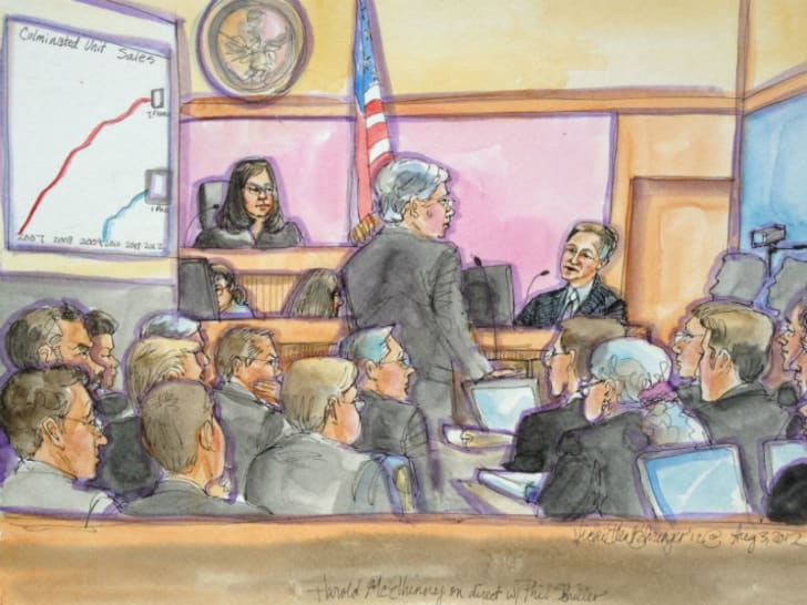 A courtroom sketch by Vicki Ellen Behringer depicts players in the 2012 Apple v. Samsung trial