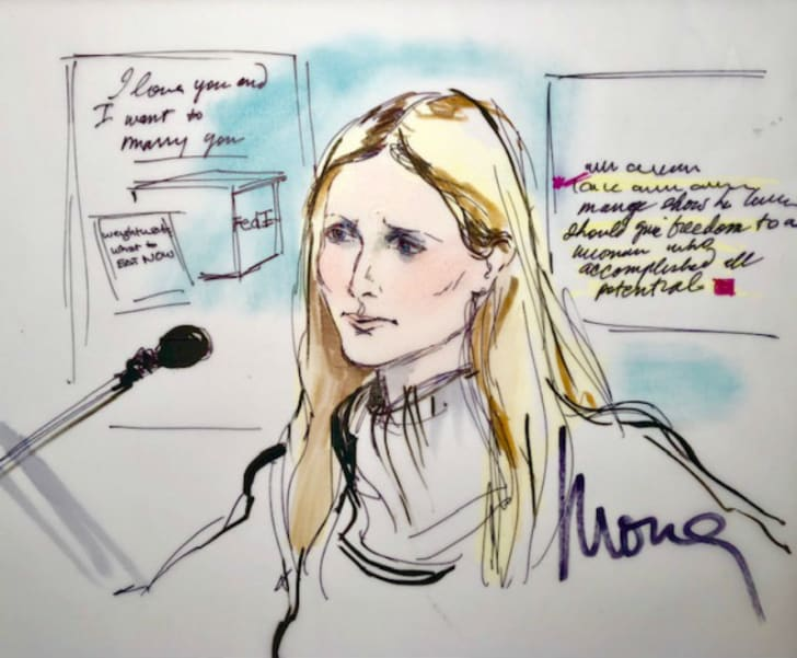 A courtoom sketch by artist Mona Shafer Edwards depicts Gwyneth Paltrow testifying during a trial