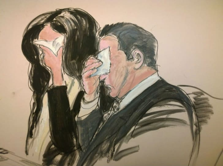 A courtroom sketch by Elizabeth Williams featuring Teresa Giudice