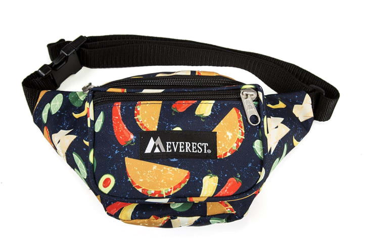 A fanny pack with tacos on it.