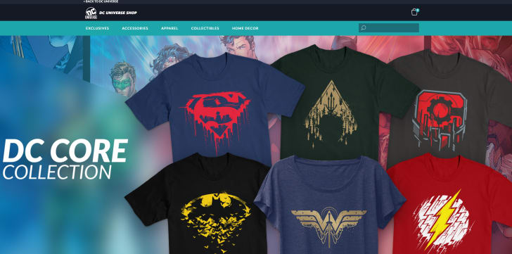 A screen shot of the DC Universe streaming site