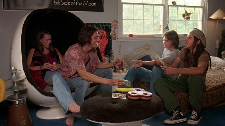 Milla Jovovich, Shawn Andrews, Jason London, and Rory Cochrane in 'Dazed and Confused' (1993)