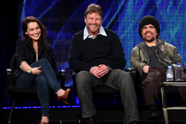 Actors Emilia Clarke, Sean Bean, and Peter Dinklage speak during the 'Game of Thrones' panel at the HBO portion of the 2011 Winter TCA press tour held at the Langham Hotel on January 7, 2011 in Pasadena, California