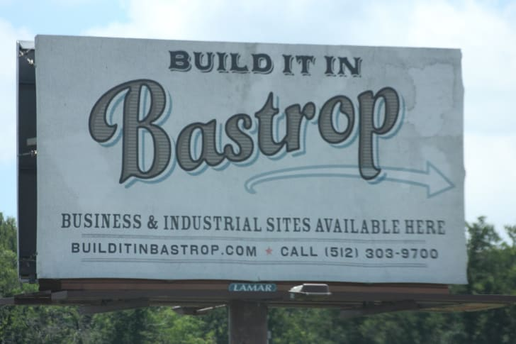 A sign in Bastrop, Texas