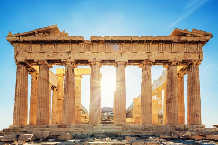 The Parthenon Temple at the Acropolis in Greece