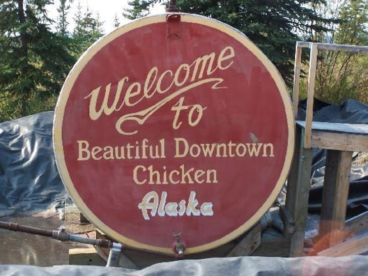 A town sign in Chicken, Alaska